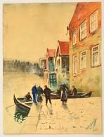 Szélig László (?-?): Csónakosok. Akvarell, Papír, 28×20 Cm - Ohne Zuordnung