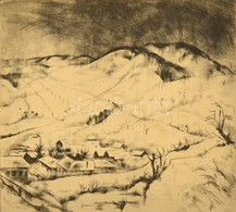 Szőnyi István (1894-1960): A Behavazott Falu (Zebegény Télen). Rézkarc, Papír, Jelzett, üvegezett Keretben, 27×30 Cm - Ohne Zuordnung