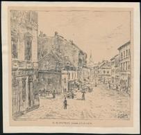 Tikáts Adolf (1872-?): Budapest V. Az Egykori Duna Utca Képe.  Rajza Után Készült Lithográfia 15x14 Cm. - Other Collections