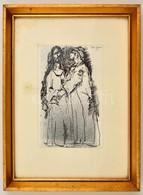 Tóth Nándor (?-): Bibliai Jelenet. Tus,papír, Jelzett, üvegezett Keretben, 17×11 Cm - Other Collections