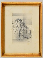 Tóth Nándor (?-): Kalapos Női Akt. Tus,papír, Jelzett, üvegezett Keretben, 17×11 Cm - Other Collections