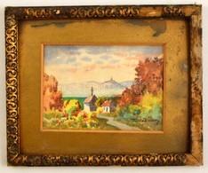 Turiák Ödön (1884-1937): Kilátás A Folyóra. Akvarell, Papír, Jelzett, Sérült Keretben, 10,5×14 Cm - Other Collections