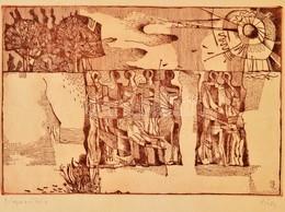 Túry Mária (1930-1992): Napsütés. Rézkarc, Papír, Jelzett, Gyűrődéssel, Papír Legszélén Esztétikai élményt Nem Befolyáso - Other Collections