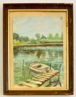 Vadász Jelzéssel: Kikötött Csónak. Akvarell, Papír, üvegezett Keretben, 32×24 Cm - Other Collections