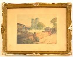 Victor Valéry (1889-1910): Notre Dame. Színezett Rézkarc, Papír, Jelzett, üvegezett Sérült Keretben, 17×21 Cm - Ohne Zuordnung