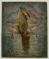 Vasvári Jelzéssel: Vitorlás. Olaj, Karton, 48×38 Cm - Other Collections
