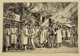 Váci András (1928-1989): Kiszabadult Kommunisták. Rézkarc, Papír, Jelzett, 19×29 Cm - Ohne Zuordnung