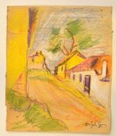 Végh Jelzéssel: Hegyi Utca Részlet. Pasztell-ceruza, Karton, Szakadással, 25×19 Cm - Other Collections