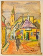 Végh Jelzéssel: Utca Részlet. Pasztell-ceruza, Karton, Szakadással, 25×19 Cm - Other Collections