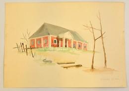 Vináry Jelzéssel: Ház A Dombtetőn. Akvarell, Papír,  30×43 Cm - Ohne Zuordnung