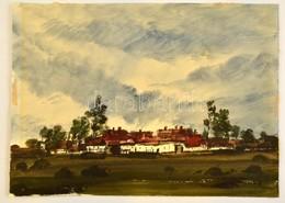 Weintrager Adolf (1927-1987): Tanyacsoport. Akvarell, Papír, Jelzett, 35×48 Cm - Ohne Zuordnung
