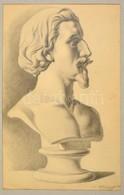 Wiettinghoff Evald (1826-1882): Férfi Büszt 1866. Ceruza, Papír, Jelzett, Paszpartuban, 50×21 Cm - Other Collections