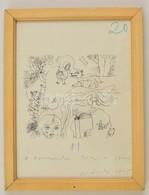 Würtz Ádám (1927-1994): Illusztráció 1975. Tus, Papír, Jelzett, üvegezett Keretben, 11×12 Cm - Other Collections