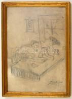Zichy Jelzéssel: Erotikus Rajz. Szén, Papír, üvegezett Keretben, 29×20 Cm - Ohne Zuordnung