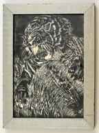 Olvashatatlan Jelzéssel: Tigris, Vegyes Technika, Papír, üvegezett Fa Keretben, 29×20 Cm - Other Collections