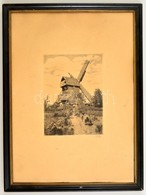 Olvashatatlan Jelzéssel: Szélmalom. Rézkarc, Papír, Fa Keretben, 18×12 Cm - Other Collections