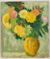 Olvashatatlan Jelzéssel: Virágcsendélet. Olaj, Farost, 55×46 Cm - Ohne Zuordnung