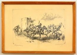 Olvashatatlan Jelzéssel: Nagyvázsony. Rézkarc, Papír, Jelzett, üvegezett Keretben, 20×29 Cm - Other Collections