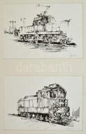 Olvashatatlan Jelzéssel: Mozdonyok, 2 Db Rajz, Tus, Papír, Paszpartuban, 20×28 Cm - Other Collections