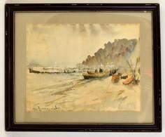 Olvashatatlan Jelzéssel: Csónakok A Parton. Akvarell, Papír, üvegezett Keretben, 43×55 Cm - Other Collections