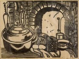 Olvashatatlan Jelzéssel: Asztali Csendélet. Fametszet, Papír, 18×24 Cm - Other Collections