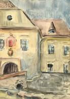 Olvashatatlan Jelzéssel: Kőszeg '68, Akvarell, Papír, Paszpartuban, üvegezett Fa Keretben, 41,5×29,5 Cm - Other Collections