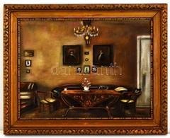 Olvashatatlan Jelzéssel: Enteriőr. Pasztell, Papír, üvegezett Keretben, 24×32 Cm - Other Collections