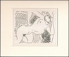 Jelzés Nélkül: Fekvő Akt. Cinkográfia, Papír, Paszpartuban, 12,5×15,5 Cm - Ohne Zuordnung