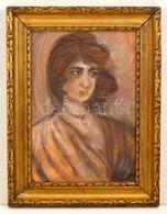 Jelzés Nélkül: Női Portré. Pasztell, Karton, Sérült, Keretben, 34×26 Cm - Ohne Zuordnung