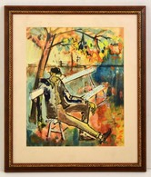 Jelzés Nélkül: Hajléktalan. Akvarell-tus, Papír, üvegezett Keretben, 32×26 Cm - Ohne Zuordnung