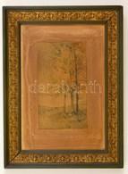 Jelzés Nélkül: Fák A Domboldalon. Akvarell, Papír, Foltos, Keretben, 18,5×11 Cm - Other Collections