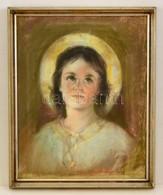 Jelzés Nélkül: Glóriás Lányka. Pasztell, Papír, üvegezett Keretben, 39×31 Cm - Ohne Zuordnung
