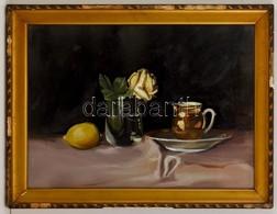 Jelzés Nélkül: Asztali Csendélet Citrommal. Olaj, Karton, üvegezett Keretben, 36×48 Cm - Other Collections