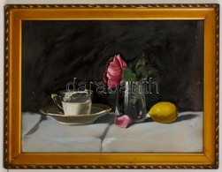 Jelzés Nélkül: Asztali Csendélet Citrommal. Olaj, Karton, Kis Lyukkal, üvegezett Keretben, 36×48 Cm - Other Collections