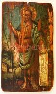 1835 Jelzés Nélkül: Krisztus Ikon. Festett Fa Tábla, Sérült, 17,5×10,5 Cm - Other Collections