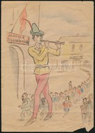Cca 1946 Jelzés Nélkül: I. Kerületi Dolgozók Belépnek Az MDP-be. Politikai Karikatúra. 15x20 Cm - Other Collections