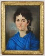 Cca 1860 Jelzés Nélkül: Kék Köpenyes Lány. Pasztell, Papír, Szakadással, üvegezett Keretben, 47×37 Cm - Ohne Zuordnung