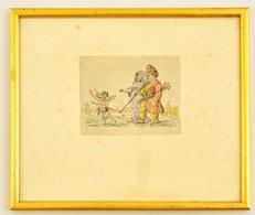 Jelzés Nélkül: 2 Db Humoros Színezett Rézkarc, Papír, Egyik üvegezett Keretben, 9,5×12 Cm - Other Collections