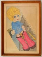 Jelzés Nélkül: Gyermek Rajz. Ceruza, Papír. 20x30 Cm Üvegezett Keretben - Other Collections