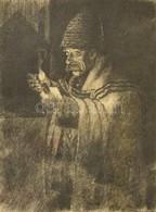 Jelzés Nélkül: Öregapó A Pipával. Rézkarc, Papír, üvegezett Keretben, 23×18 Cm - Other Collections