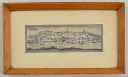 Jelzés Nélkül: Buda 1777. Rézkarc, Papír, üvegezett Keretben, 5,5×16,5 Cm - Other Collections