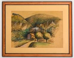 Jelzés Nélkül: Ház A Völgyben. Akvarell-tus, Papír, üvegezett Keretben, 28×39 Cm - Ohne Zuordnung