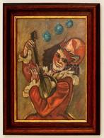 Jelzés Nélkül: Hangszeres Bohóc, Olaj, Papír, üvegezett Fa Keretben, 30,5×22,5 Cm - Other Collections