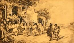 Jelzés Nélkül: Lakodalom. Rézkarc, Papír, üvegezett Keretben, 27×49 Cm - Ohne Zuordnung