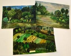 Jelzés Nélkül: 3 Db Akvarell, Papír, 27×37-29×44 Cm - Other Collections