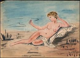 Jelzés Nélkül: Női Akt. Akvarell, Papír, 21×30 Cm - Ohne Zuordnung