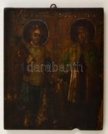 Cca 1900 Nagy Konstantin és Szent Ilona Ikon, Erősen Sérült, Tojás Tempera, Fatábla, 22×18 Cm - Other Collections