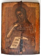 Cca 1800 Jézus Krisztus Ikon, Erősen Sérült, Tojás Tempera, Fatábla, 44×34 Cm - Other Collections