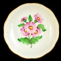 Herendi Virágmintás Porcelán Tálka, Kézzel Festett, Jelzett, Hibátlan, D: 8 Cm - Ceramics & Pottery