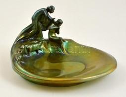 Zsolnay Figurális Névjegykártyatartó, Eozin Mázas, Restaurált, Jelzett, M:9 Cm, 14×10 Cm - Ceramics & Pottery